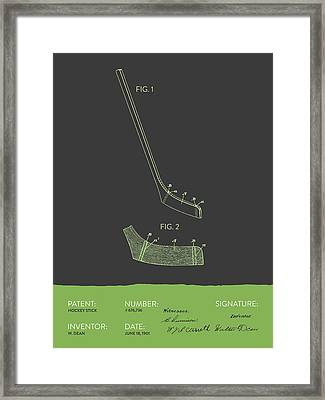 Hockey Stick Patent From 1901 - Gray Green Framed Print by Aged Pixel