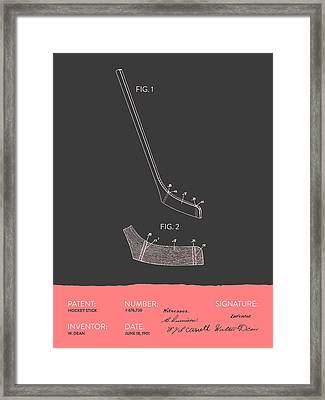 Hockey Stick Patent From 1901 - Gray Salmon Framed Print by Aged Pixel