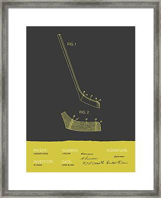 Hockey Stick Patent From 1901 - Gray Yellow Framed Print by Aged Pixel