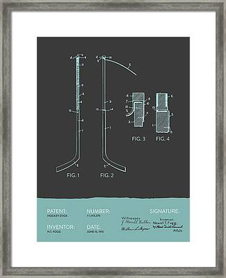 Hockey Stick Patent From 1915 - Gray Blue Framed Print