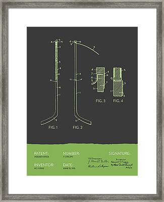 Hockey Stick Patent From 1915 - Gray Green Framed Print