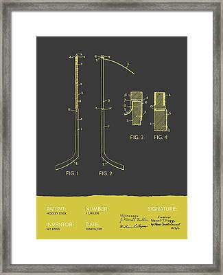Hockey Stick Patent From 1915 - Gray Yellow Framed Print