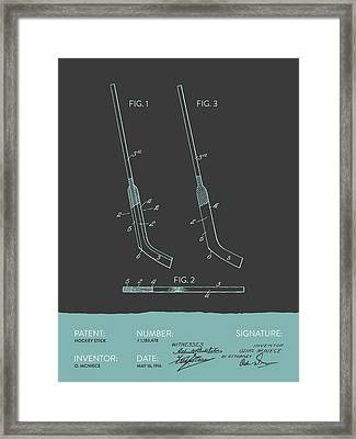 Hockey Stick Patent From 1916 - Gray Blue Framed Print