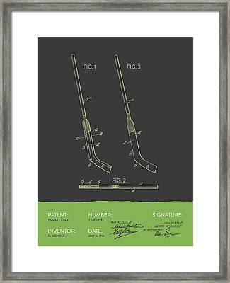 Hockey Stick Patent From 1916 - Gray Green Framed Print by Aged Pixel