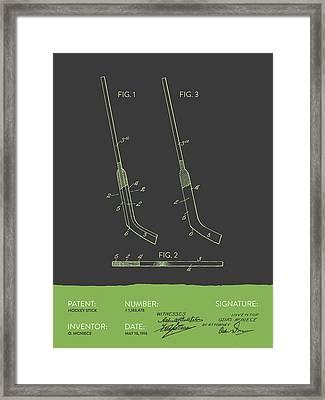 Hockey Stick Patent From 1916 - Gray Green Framed Print