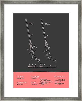 Hockey Stick Patent From 1916 - Gray Salmon Framed Print by Aged Pixel