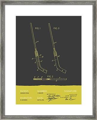 Hockey Stick Patent From 1916 - Gray Yellow Framed Print by Aged Pixel