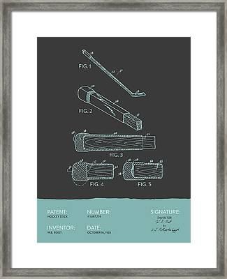 Hockey Stick Patent From 1928 - Gray Blue Framed Print
