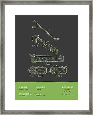 Hockey Stick Patent From 1928 - Gray Green Framed Print