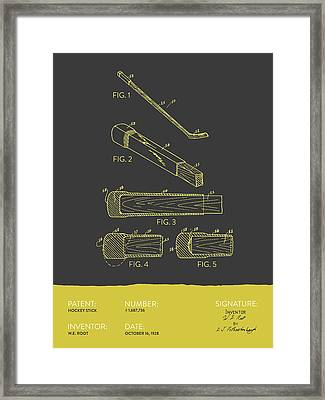 Hockey Stick Patent From 1928 - Gray Yellow Framed Print