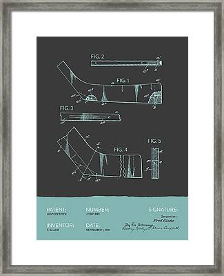 Hockey Stick Patent From 1931 - Gray Blue Framed Print