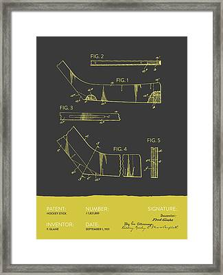Hockey Stick Patent From 1931 - Gray Yellow Framed Print