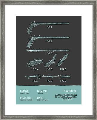 Hockey Stick Patent From 1935 - Gray Blue Framed Print