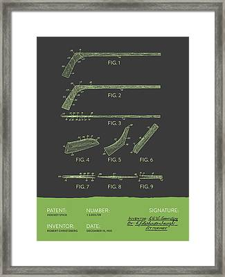 Hockey Stick Patent From 1935 - Gray Green Framed Print