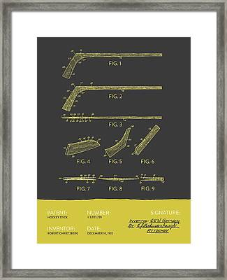 Hockey Stick Patent From 1935 - Gray Yellow Framed Print