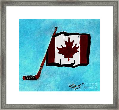 Hockey Stick With Canadian Flag Framed Print by Gail Matthews