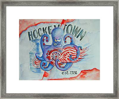 Hockeytown Framed Print by Elaine Duras