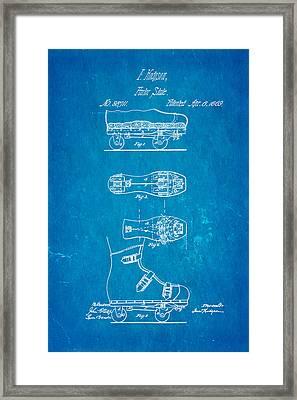 Hodgson Roller Skate Patent Art 1869 Blueprint Framed Print by Ian Monk