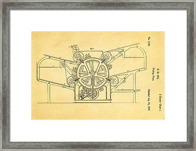 Hoe Printing Press Patent Art 1847  Framed Print by Ian Monk
