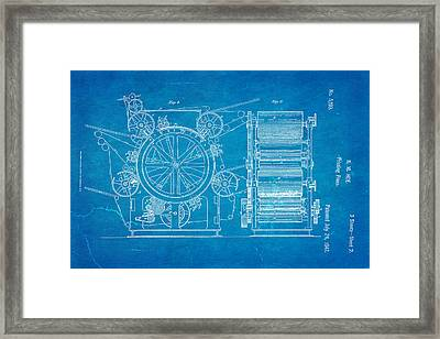 Hoe Printing Press Patent Art 2 1847 Blueprint Framed Print by Ian Monk