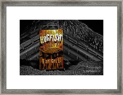 Hogfish Grill On Black Framed Print by Rick Bravo