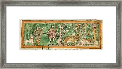 Hogs And Hunting Dogs, 11th Century Framed Print by British Library