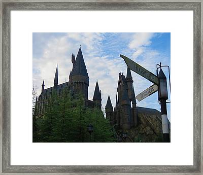 Hogwarts Castle With Signs Framed Print