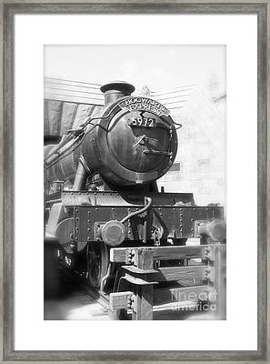 Hogwarts Express Train Closeup Black And White Framed Print