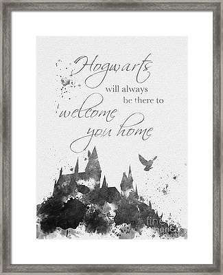 Hogwarts Quote Black And White Framed Print by Rebecca Jenkins