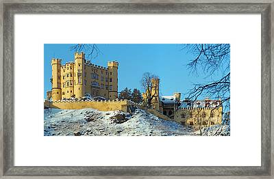 Hohenschwangau Castle Panorama In Winter Framed Print by Rudi Prott
