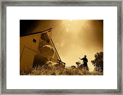Hoisting Hay Framed Print