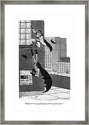Hold On - I Was Putting My Card In Upside Down Framed Print by Danny Shanahan