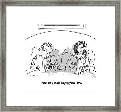 Hold On, I'm Still On Page Forty-nine Framed Print by Michael Crawford