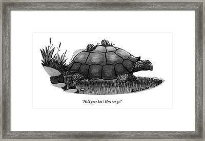 Hold Your Hat ! Here We Go! Framed Print by Dana Fradon