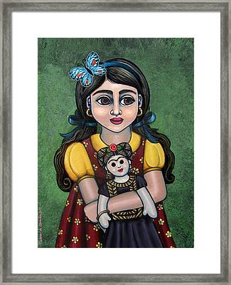 Holding Frida With Butterfly Framed Print by Victoria De Almeida