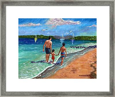 Framed Print featuring the painting Holding Hands by Laura Forde