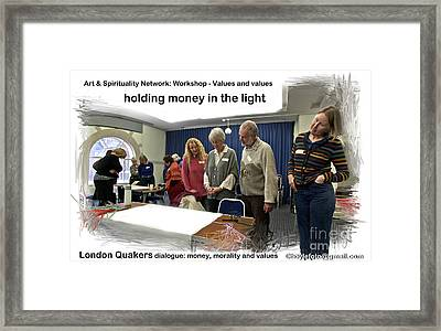 Holding Money In The Light Framed Print by Mike Hoyle