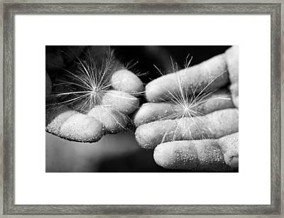 Holding The Future Bw Framed Print