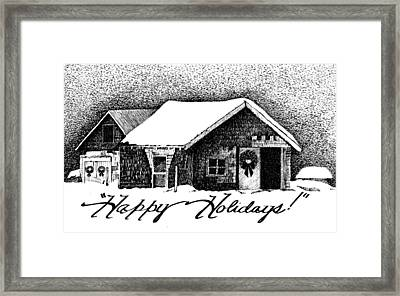 Holiday Barn Framed Print by Joy Bradley
