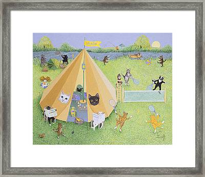 Holiday Camp Oil On Canvas Framed Print by Pat Scott