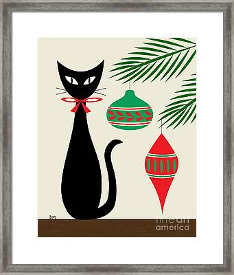 Holiday Cat On Cream Framed Print