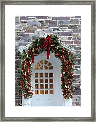 Framed Print featuring the photograph Holiday Door Wreath by Ann Murphy