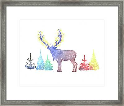 Holiday Elk Framed Print by P.s. Art Studios