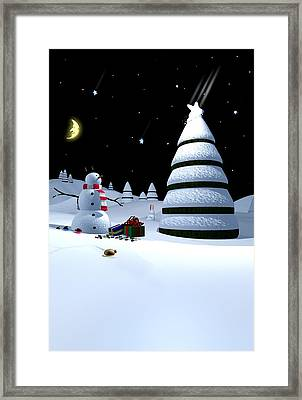 Holiday Falling Star Framed Print by Cynthia Decker