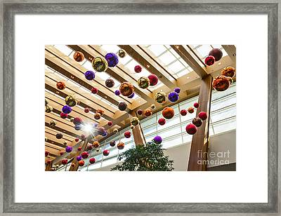 Holiday Glass Ornament Decorations At The Aria Resort And Casino Framed Print by Jamie Pham