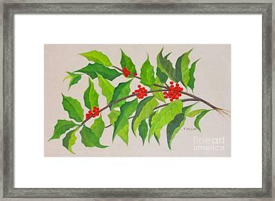 Holiday Holly Framed Print by Frances  Dillon