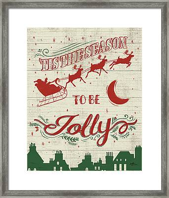 Holiday In The Woods II Red And Green Framed Print