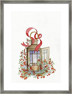 Holiday Lantern I Framed Print by Kathleen Parr Mckenna