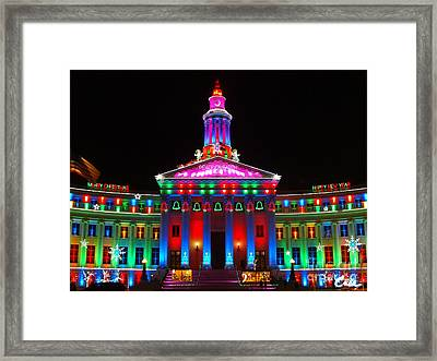 Holiday Lights 2012 Denver City And County Building G5 Framed Print by Feile Case