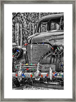 Holiday Lights On Old Truck Framed Print by Birgit Tyrrell